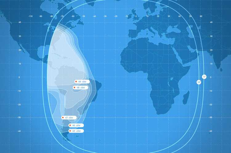 AM8 Ku-Band South America 14W  Coverage satellite internet solutions